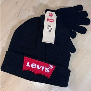 LEVI'S BEANIE & GLOVES 2 pieces embroidered logo